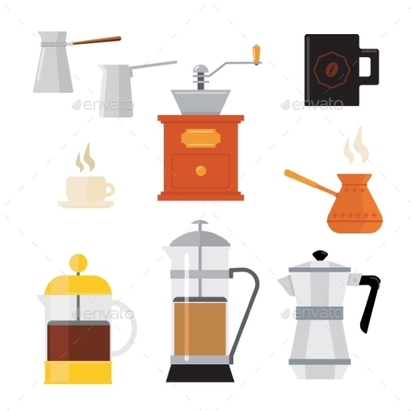 Flat Modern Icons for Coffee Shop - Food Objects