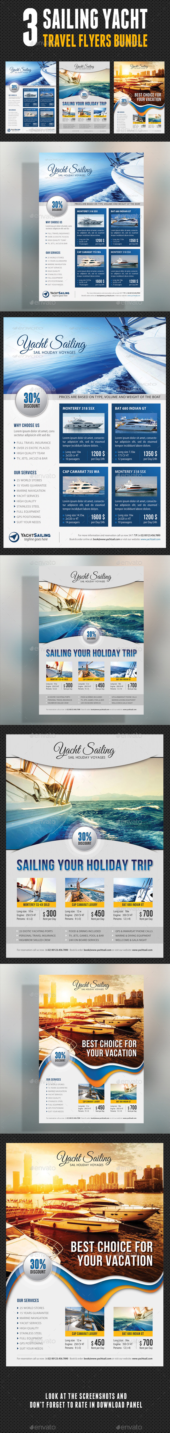 3 in 1 Sailing Yacht Travel Flyers Bundle V03