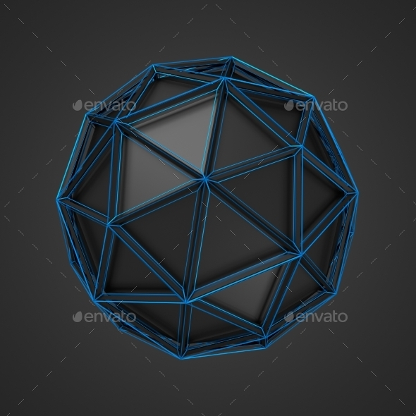 Low Poly Black Sphere With Wireframe - Tech / Futuristic Backgrounds