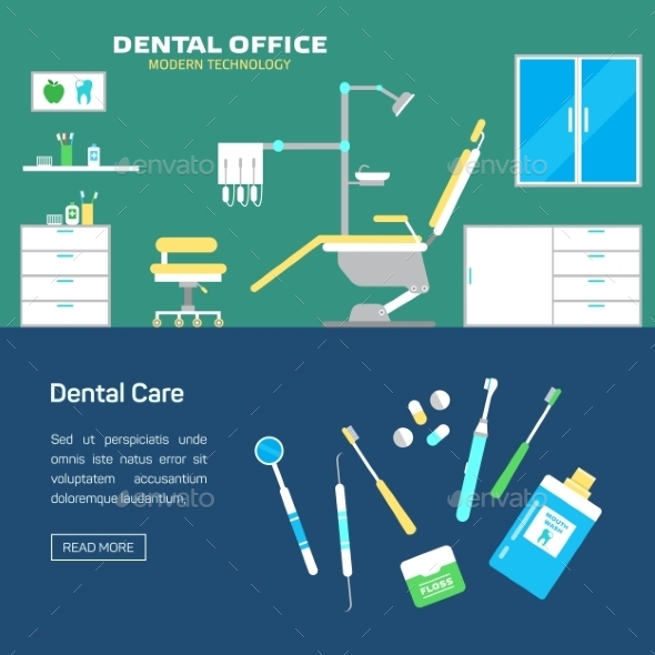 Dental Office with Seat and Equipment Tools - Health/Medicine Conceptual
