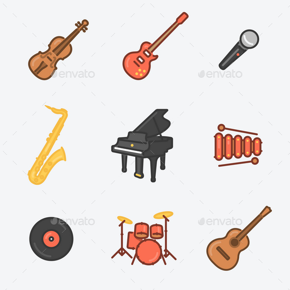 9 Musical Instruments Icons - Media Technology