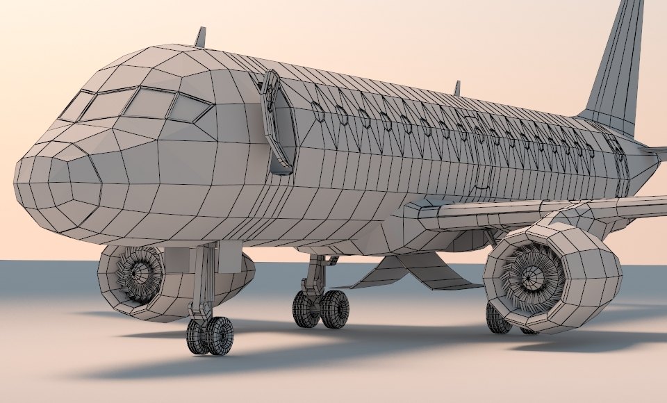 Low Poly Jet Plane With Airport Gangway By Spaceexpert