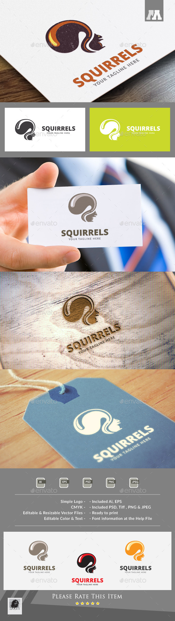 Squirrels Logo Template - Animals Logo Templates