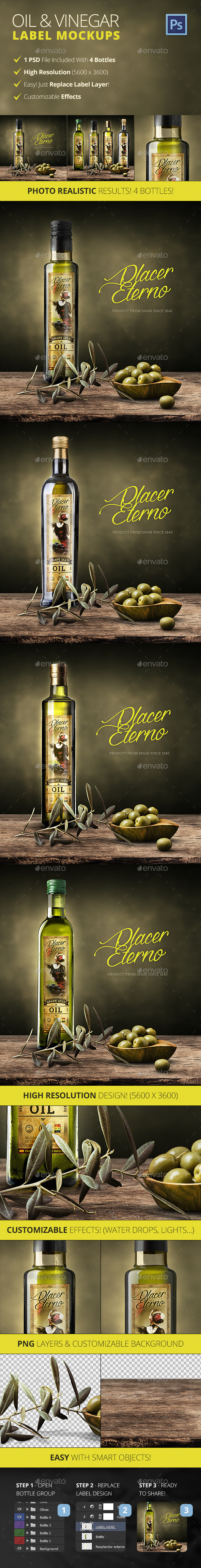 Olive Oil And Vinegar Bottle Label Mockup - Food and Drink Packaging