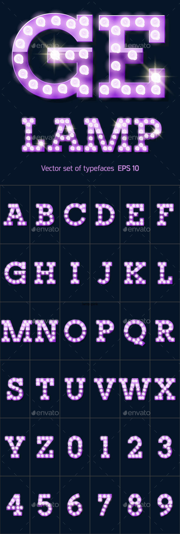 Festive Purple Vector Lamp Alphabet - Decorative Symbols Decorative
