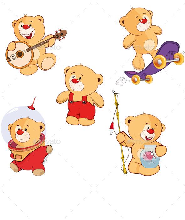 Set of Cartoon Bears - Animals Characters