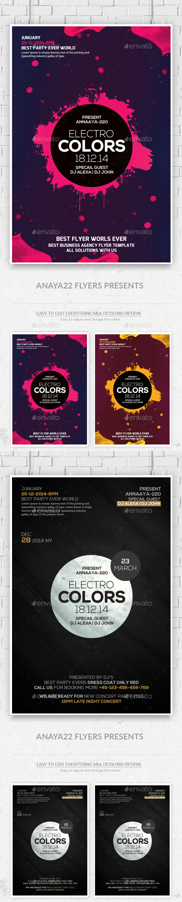 Electro Colors Flyers Bundle Template - Clubs & Parties Events