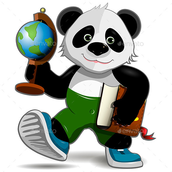Panda with Globe - Animals Characters