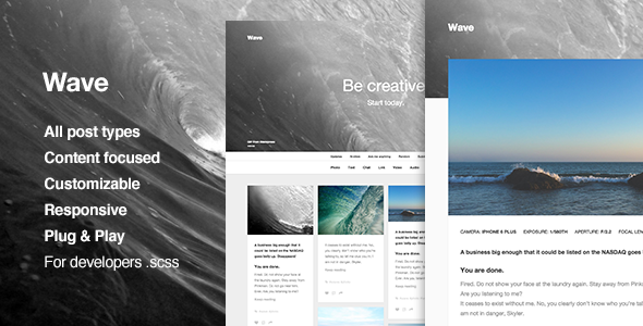 Wave, Grid-based, Responsive Portfolio Theme for Tumblr