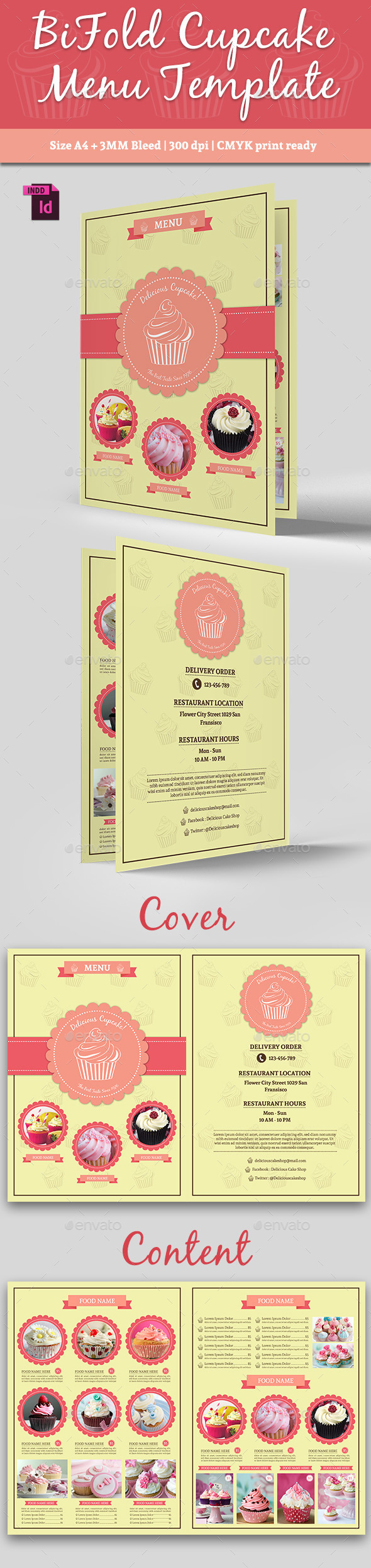 BiFold Cupcake Menu Template Vol. 2 - Food Menus Print Templates