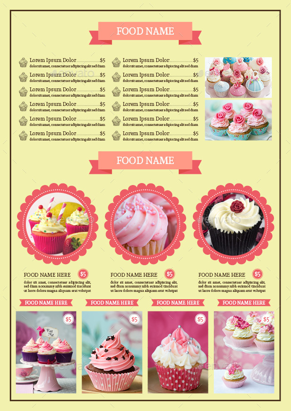 Bifold Cupcake Menu Template Vol 2
