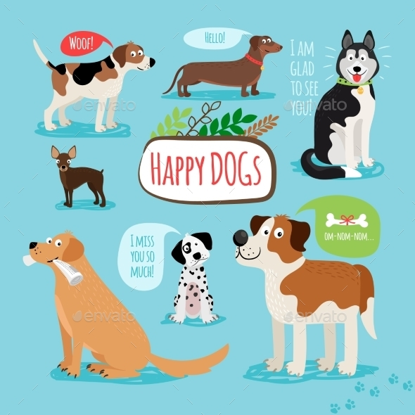 Vector Cartoon Dogs - Animals Characters