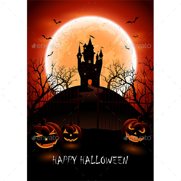 Halloween Background with Castle and Pumpkins - Halloween Seasons/Holidays