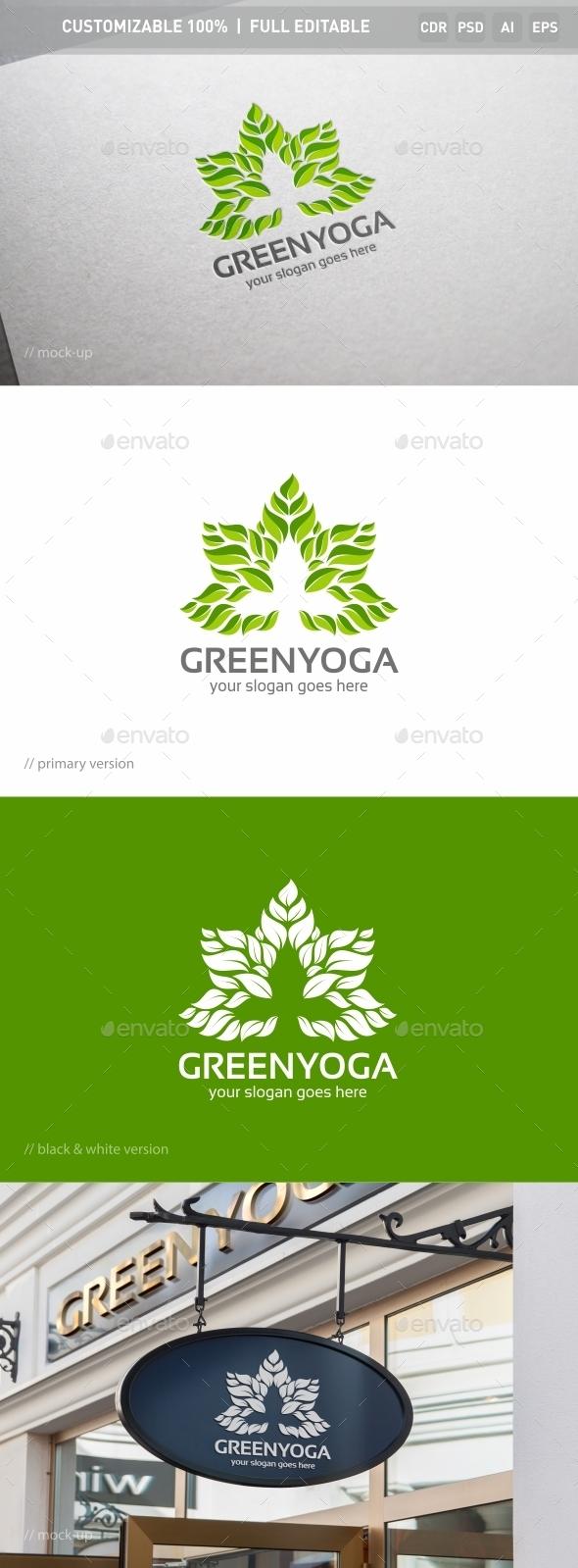 Green Yoga Logo Template - Objects Logo Templates