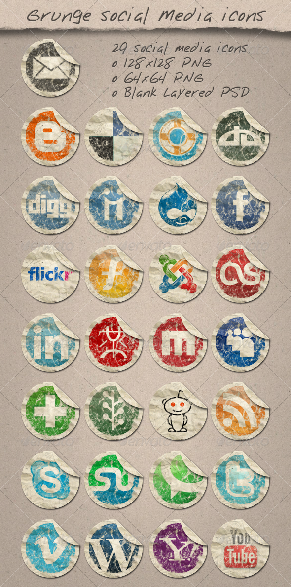 29 Grunge Paper Social Media Icons - Web Icons