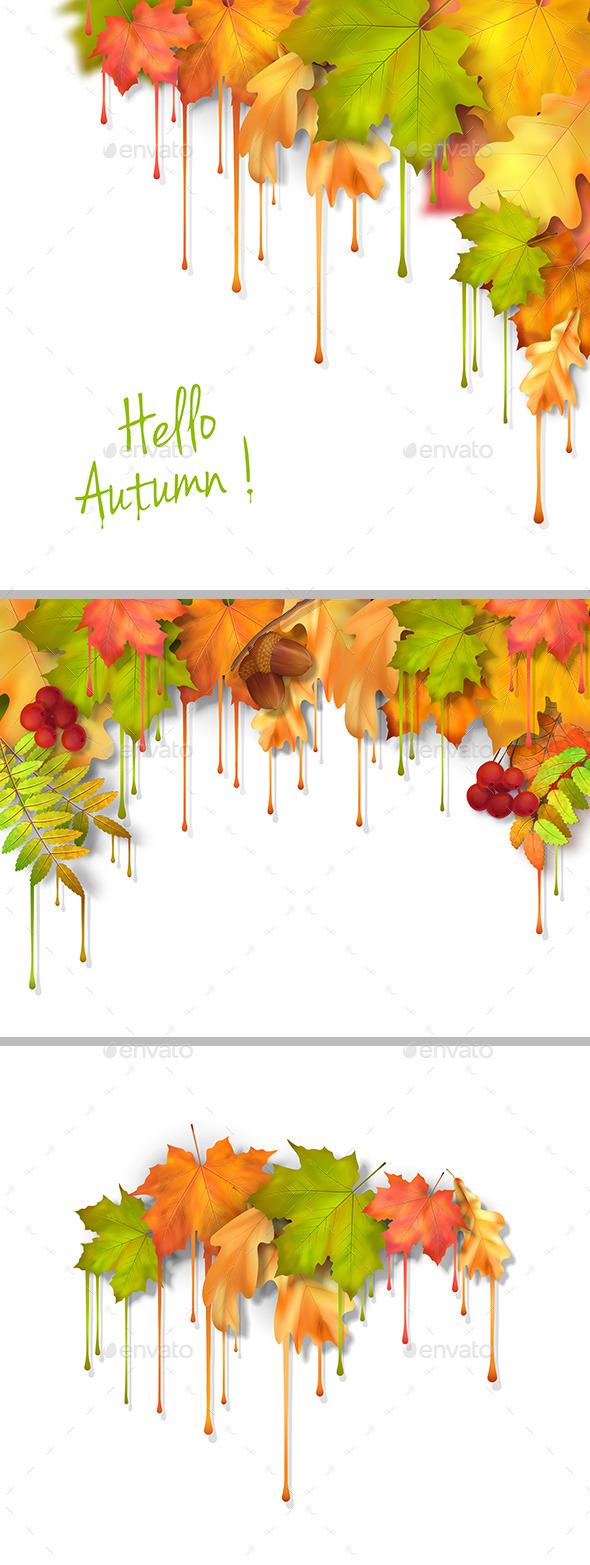 Autumn Vector Dripping Paint Leaves Set - Seasons Nature