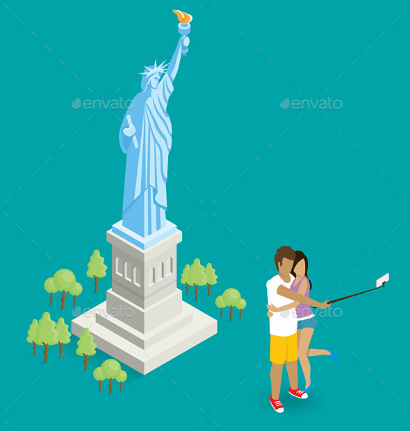 Couple Making Selfie Near The Statue of Liberty - Travel Conceptual