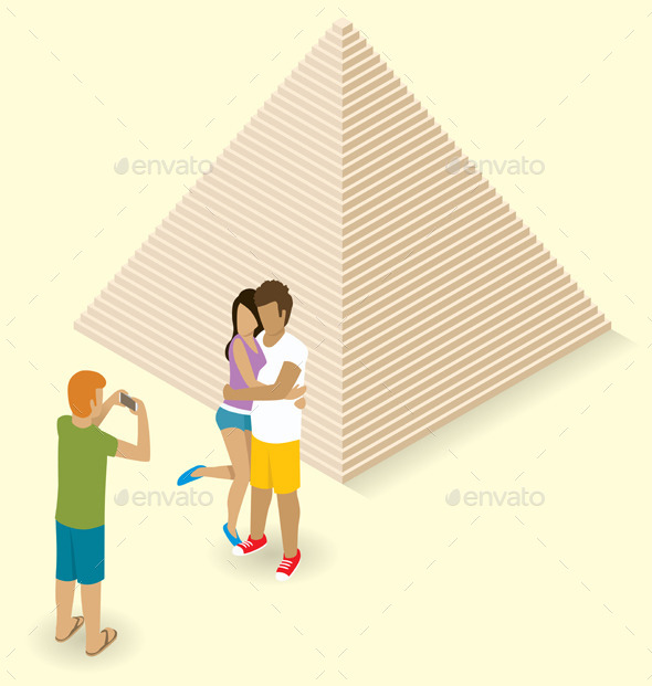 Couple Making Selfie Near The Egyptian Pyramid