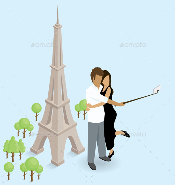 Couple Making Selfie Near The Eiffel Tower in Paris - Travel Conceptual