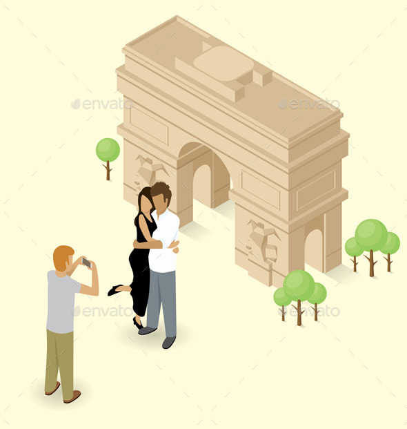 Couple Making Selfie Near The Triumphal Arch - Travel Conceptual