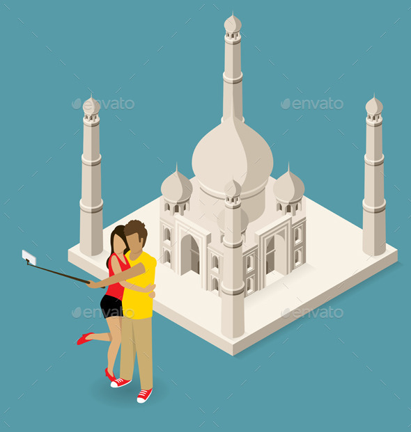Couple Making Selfie Near The Taj Mahal - Travel Conceptual