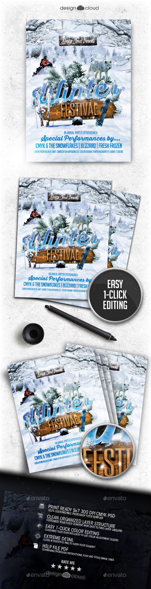 Winter Festival Flyer Template - Clubs & Parties Events