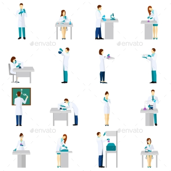 Scientist Person Flat Set - People Characters
