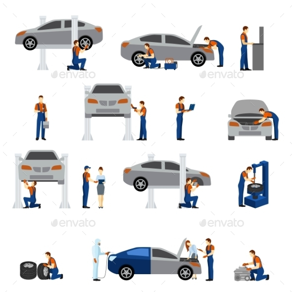 Mechanic Flat Icons - Industries Business