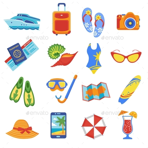Summer Vacation Flat Icons Collection - Seasonal Icons