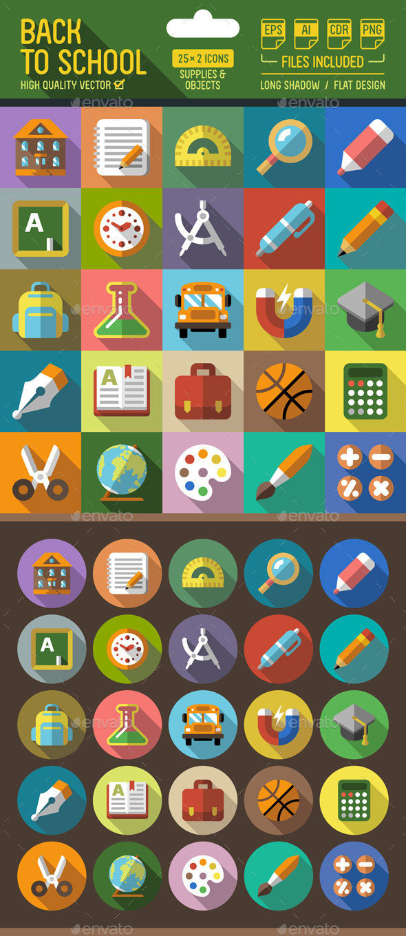Back to School Flat Icons with Long Shadow