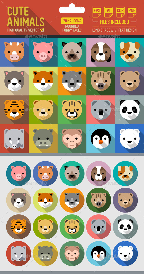 Cute Animals Flat Icons with Long Shadow - Animals Characters