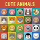 Cute Animals Flat Icons with Long Shadow - GraphicRiver Item for Sale