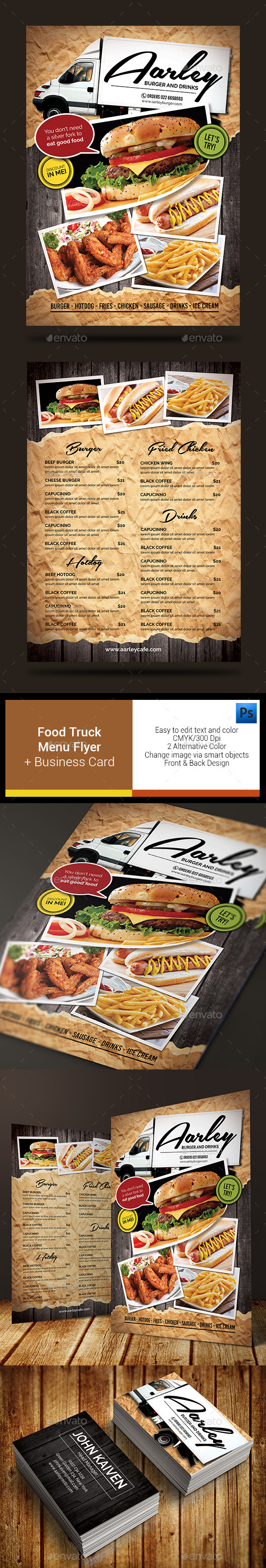 Food Truck Menu Flyer + Business Card - Food Menus Print Templates