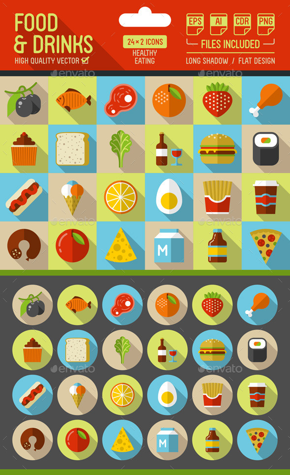 Food and Drinks Flat Icons with Long Shadow - Food Objects