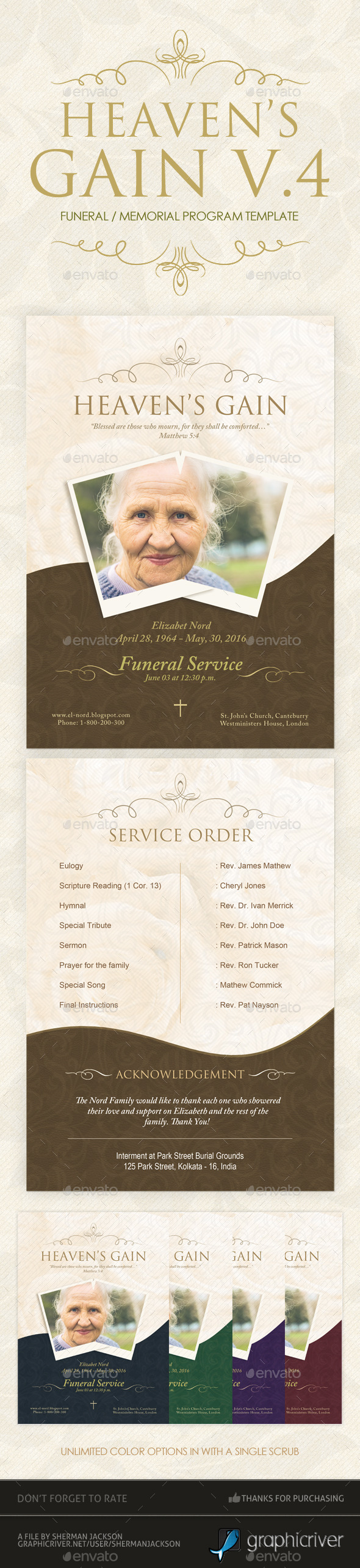 Heaven's Gain - Funeral / Memorial Program V.4 - Miscellaneous Print Templates