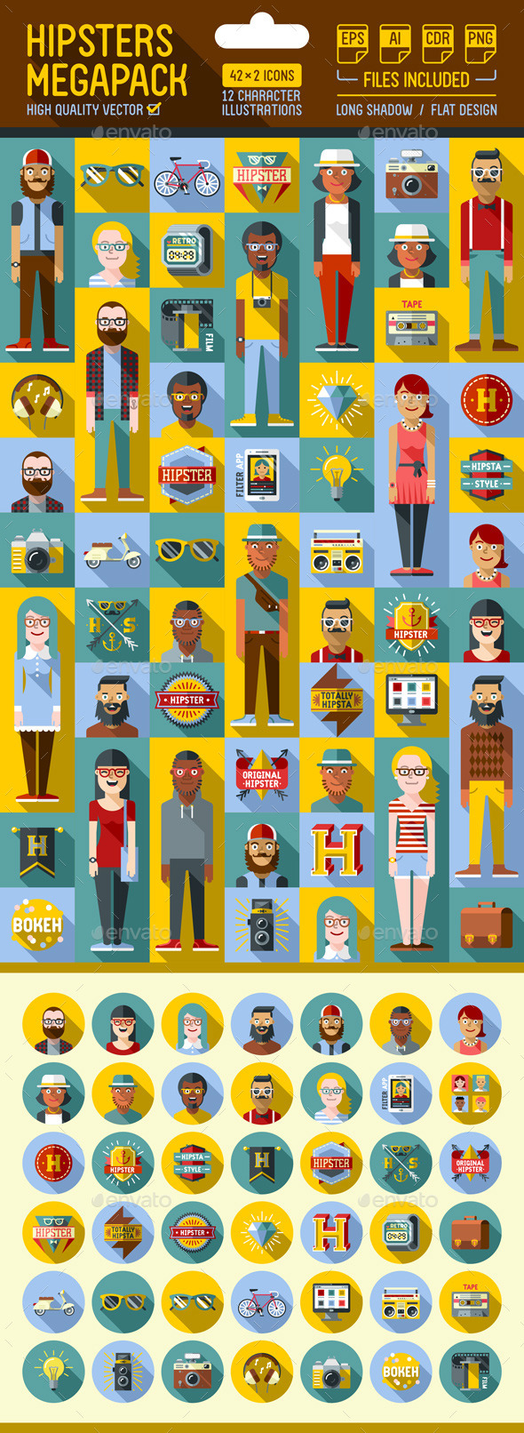 Hipster Megapack Flat Icons with Long Shadow - People Characters