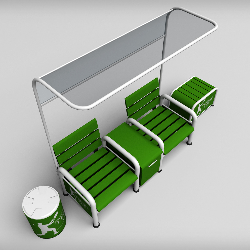 Tennis Court Bench Chair By Kr3atura 3docean