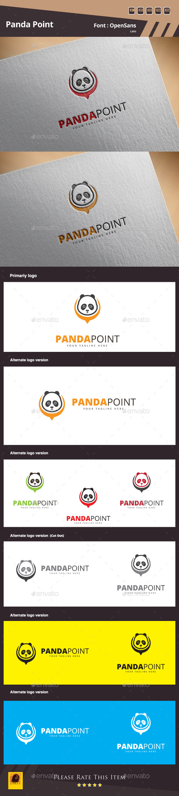 Panda Point Logo Template - Animals Logo Templates