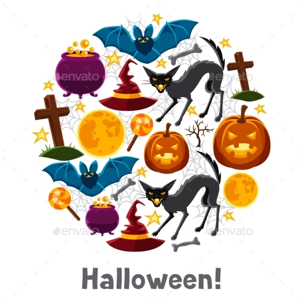 Happy Halloween Greeting Card With Characters - Seasons/Holidays Conceptual