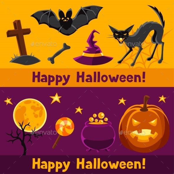Happy Halloween Banners With Characters - Seasons/Holidays Conceptual