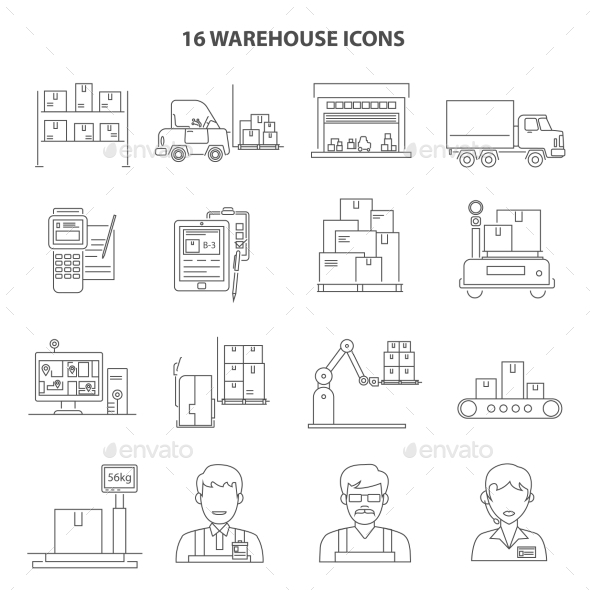 Warehouse Icons Outline - Miscellaneous Icons