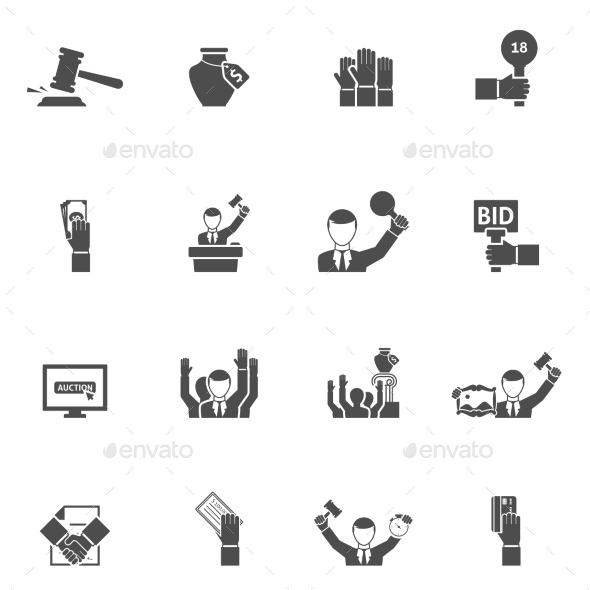 Auction Black White Icons Set  - Business Icons