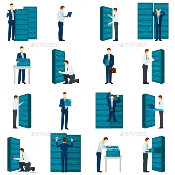 Flat Datacenter Icons Set - People Characters
