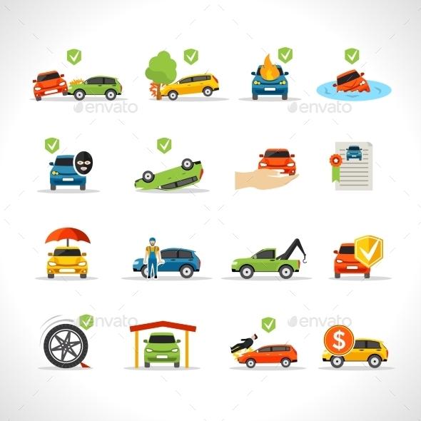 Car Insurance Icons Set - Icons