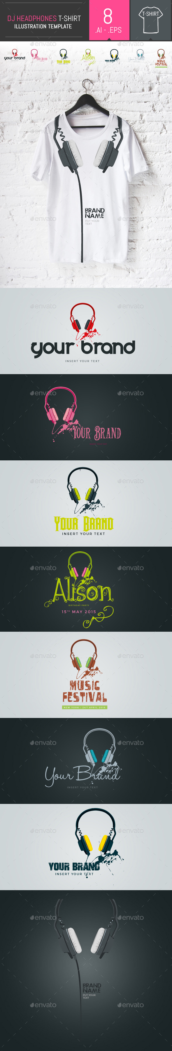 8 Vector Professional Dj Headphones Templates - Events T-Shirts
