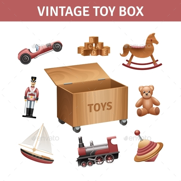 Vintage Toy Box Set - Man-made Objects Objects