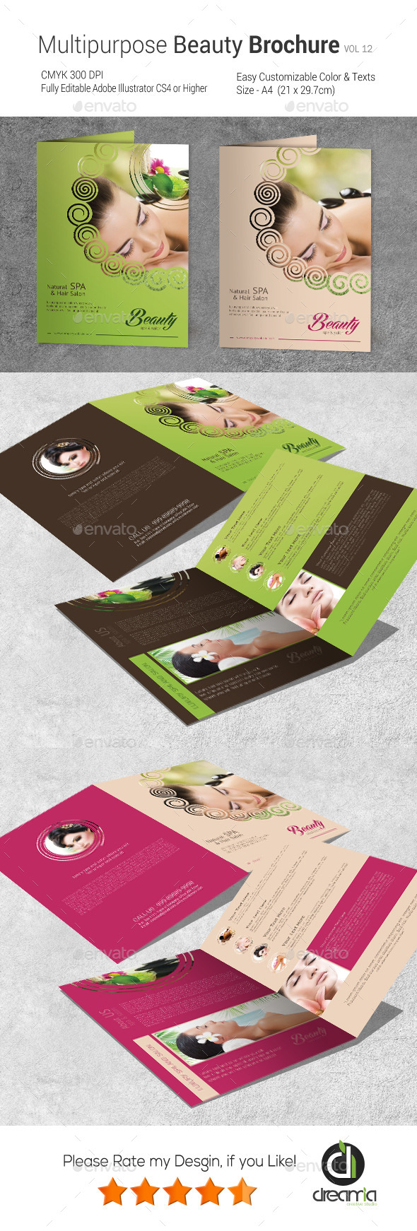Bifold Beauty Brochure Template- VOL-12  - Corporate Business Cards