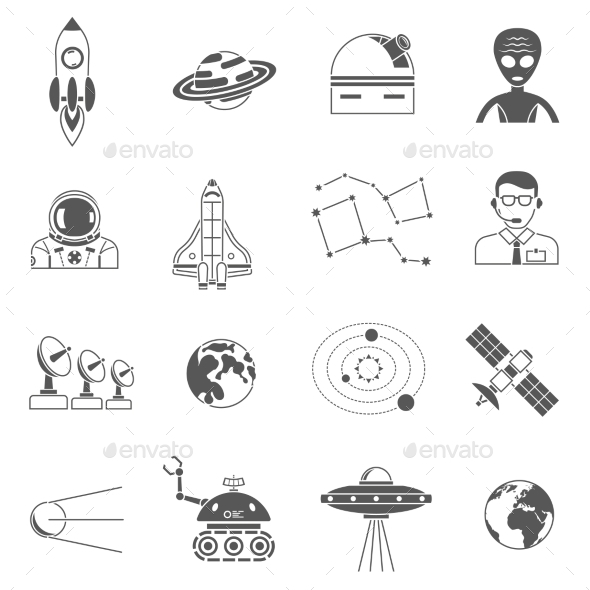 Space Cosmos Black Icons Set - Miscellaneous Icons