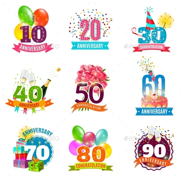 Anniversary Birthdays Emblems Icons Set  - Birthdays Seasons/Holidays