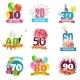 Anniversary Birthdays Emblems Icons Set  - GraphicRiver Item for Sale